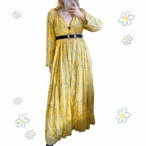 Yellow tiered ruffle maxi dress